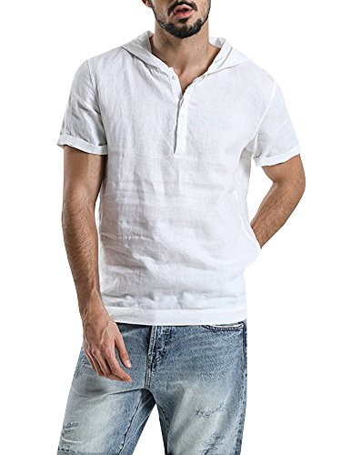 SySea Mens Short Sleeve Button Henley Neck Pullover Hooded Linen Woven Shirt Casual T Shirts