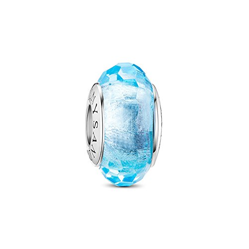 TINYSAND 925 Sterling Silver Czech Crystal Fascinating Facet Aquamarine Glass Charms Beads Spacers March Birthstone Solid Core Charm Fit All Bracelets (Box Aquamarine Gift Genuine)