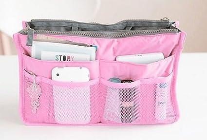 Lady Women Insert Handbag Purse Liner Organizer Bag Tidy Travel Zip Makeup Case