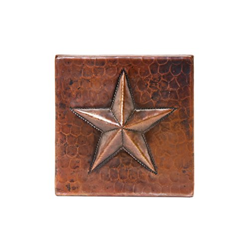 Copper Star Tile (Premier Copper Products T4DBS_PKG4 4-Inch by 4-Inch Hammered Copper Star Tile - Quantity 4, Oil Rubbed Bronze)