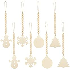 Christmas Farmhouse Home Decor 8 Pieces Christmas Tree Wood Bead Hanging Decor Xmas Wooden Bead Garlands Ornaments Rustic Farmhouse Beads Pendants for…