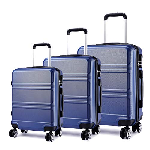 Kono Lightweight ABS Suitcase 4 Spinner Wheels Trolley Case 3pcs Luggage...