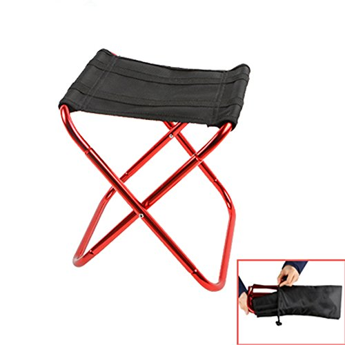 lding Camping Picnic Chair Aluminium Alloy Stool Leisure Fishing Chair(Rose Red) ()