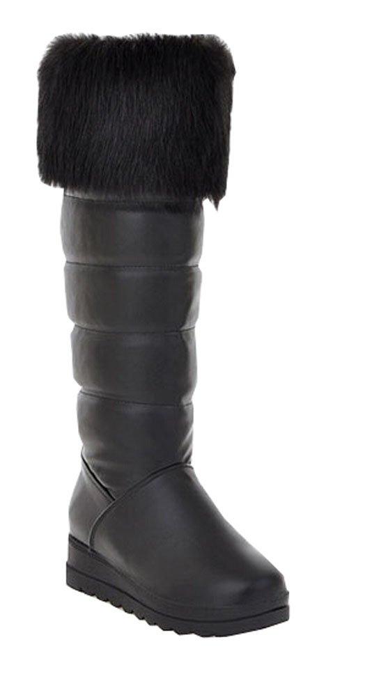 Big Size 35-40.5 Noir Neige pour Chaudes Bottes de Neige Chaussures Fourrure d hiver Appartements Heel Toe Ronde Plate-Forme Rider Bottes pour Les Femmes Noir b5a0aab - boatplans.space