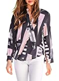 Azokoe Womens Shirts Casual Loose Fall Autumn Long Sleeve V Neck Chiffon Henley T Shirts Top Tunic Blouses for Work Office Black Large