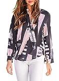 Asvivid Womens Casual Printed V Neck Long Sleeve Loose Chiffon T Shirt Blouses Tops Plus Size 1X Black
