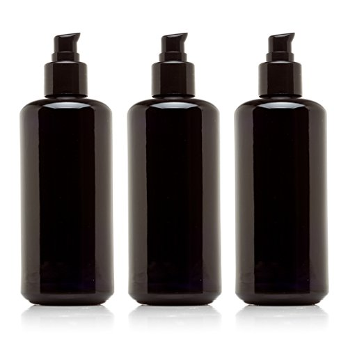 Infinity Jars 200 Ml (6.8 fl oz) Black Ultraviolet Glass Push Pump Bottle ()