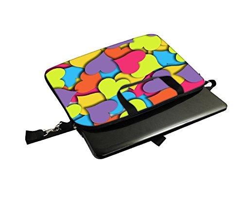 Snoogg mehrere Herzen Laptop Netbook Computer Tablet PC Schulter Case mit Sleeve Tasche Halter für Apple iPad/HP TouchPad Mini 210/Acer Aspire One und die meisten 24,6cm 25,4cm 25,7cm 25,9cm Zoll