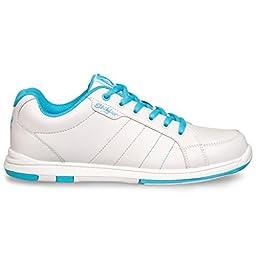 KR Strikeforce Y-021-010 Satin Bowling Shoes, White/Aqua, Size 1
