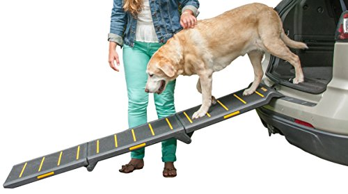 Dog Travel Ramp - Pet Gear Tri-Fold Ramp 71 Inch Long Extra Wide Portable Pet Ramp for Dogs/Cats up to 200lbs, Patented Compact/Easy Fold with Safety Tether