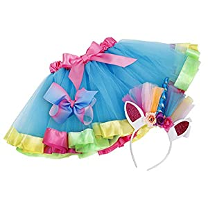 Simplicity Girls Rainbow Layered Tulle Tutu Skirt with Unicorn Headband & Hair Bow