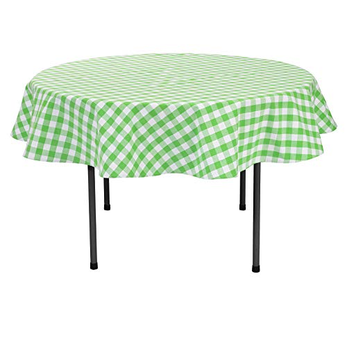 VEEYOO Plaid Check Tablecloth Gingham 100% Cotton for Home Kitchen Party Indoor or Outdoor Use 70 inch Round (Seats 4 to 6 People), Lime & White ()