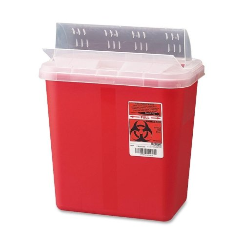 Biohazard Sharps Container W/Clear Lid, 2 Gallon, Red by Unimed-Midwest, Inc.