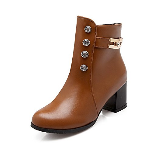 Boots Top Heels Brown Womens PU Zipper AmoonyFashion Kitten Low Solid Wqwx0fq8Z1