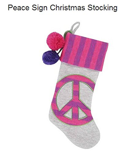 20'' Peace Sign Christmas Stocking for Girls, Teens, Tweens, Bedroom Decor, College Dorm by Artistix Christmas Shoppe (Image #1)