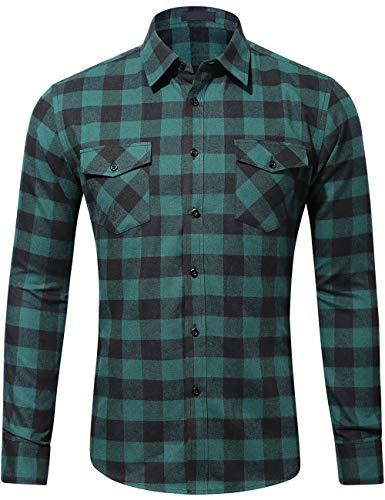 (DOKKIA Men's Dress Slim Fit Buffalo Plaid Checked Long Sleeve Flannel Shirts (Dark Green Black Buffalo, Small))