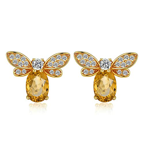 Beauty-OU 925 Sterling-silver-jewelry Earring Bee 5x7mm 1ct 100% Natural Citrine Stud Earrings For Women Fine Jewelry S925 EI041
