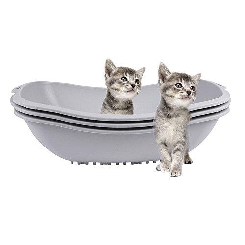 3Pcs Sifting Cat Litter Box Kitty Pet Box Pan Huge Toilet Clean Mat Pet (Bars Toronto Halloween)