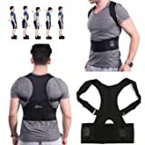 Posture Corrector - back posture corrector - posture corrector for men - Back Corrector - Fully Adjustable Hunchbacked Posture Corrector Lumbar Back Magnets Support Brace Shoulder Band Belt (M)