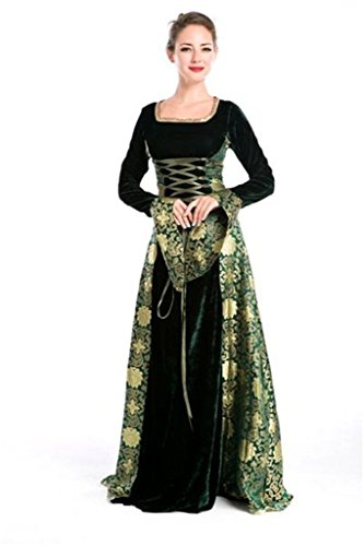 Halloween Blue Velvet Lolita Gothic Renaissance Medieval Mythic Costumes (Green) (Costumes For Renaissance Festival)