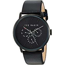 Ted Baker Men's 'Smart Casual' Quartz Stainless Steel and Leather Dress Watch, Color:Black (Model: 10030763)