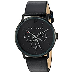 Ted Baker Men's Smart Casual Stainless Steel Japanese-Quartz Watch with Leather Strap, Black, 22 (Model: 10030763)
