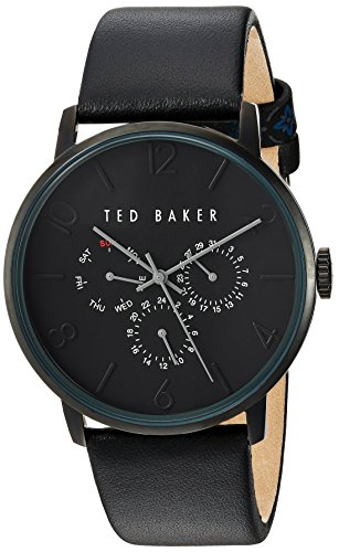 Ted Baker Men's Smart Casual Stainless Steel Japanese-Quartz Watch with Leather Strap, Black, 22 (Model: -