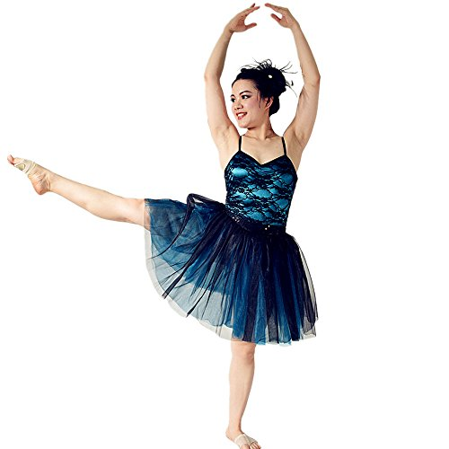 Dance Competition Hip Hop Costumes - MiDee Dance Costume 2Pieces Ballet Dress Camisole Lace Leotard & Knee Length Tutu Skirt (IC, Black)