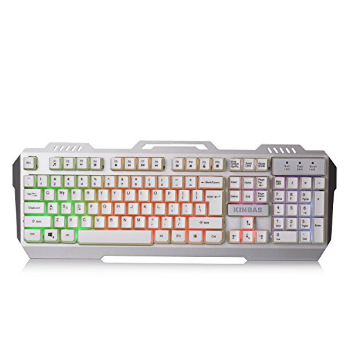 LumsBurry Metal Base RainBow Backlit LED Gaming Keyboard  (Silver White)