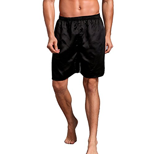 Mobarta Men's Satin Boxers Silk Sleepwear Underwear Shorts Lounge Beach Shorts (Black, Medium(Waist 27