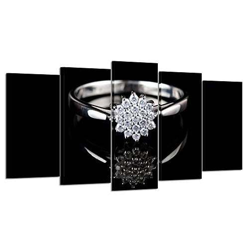 Kreative Arts - Large 5 Piece Black and White Gold Ring with Diamonds Giclee Canvas Prints Wall Art Fashion Poster Picture Decorative Paintings Stretched Artwork for Living Room (Large Size 60x32inch)