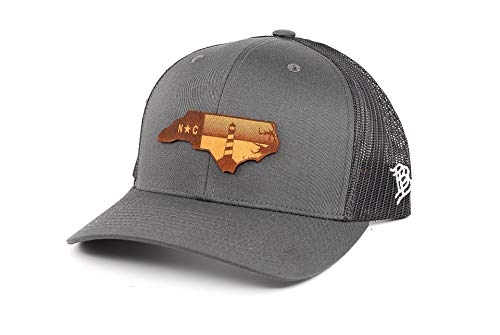 Branded Bills North Carolina 'The Lighthouse' Leather Patch Hat Curved Trucker - OSFA/Charcoal/Black
