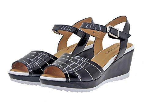 Calzado mujer confort de piel Piesanto 8976 sandalia cuña cómodo ancho Negro