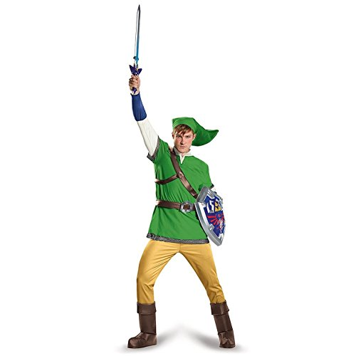 Adult Link Costumes (Disguise Men's Link Deluxe Adult Costume, Green, X-Large)