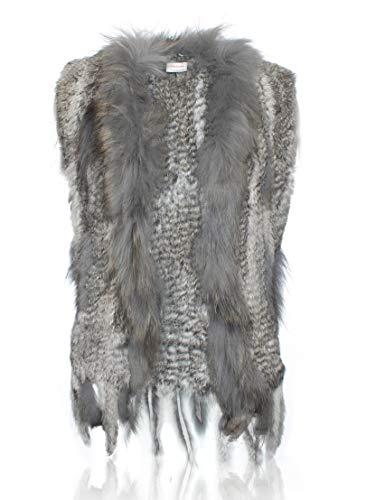 della Raccoon in HEIZZI maglia 100 del Naturale Soft coniglio Elegante Grey collo con pelliccia 5wpAqpYH