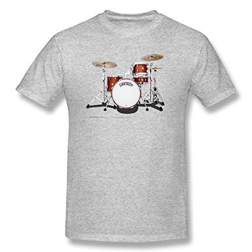 YXQMY Men's Gretsch-Drums-Gretsch-Catalina-Club-Jazz-percussio-Drumset Cotton T-Shirt Gray with Short Sleeve