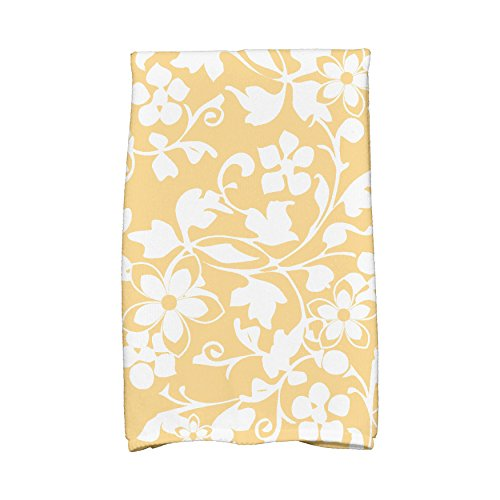 E by design KTF835YE9 Evelyn Floral Print Kitchen Towels, 16 x 25, Yellow