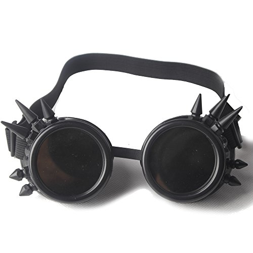 STLY Vintage Victorian Steampunk Goggle Spikes Glasses Welding Cyber Punk Gothic Cosplay Black Frames