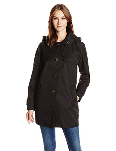 (London Fog Women's Button Front Topper, Black, L)