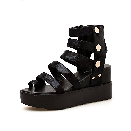 LEIT Women's Sandals Wedge Summer High Heel Thick Bottom Increase in Height Toe Sandals Black OAcTeu