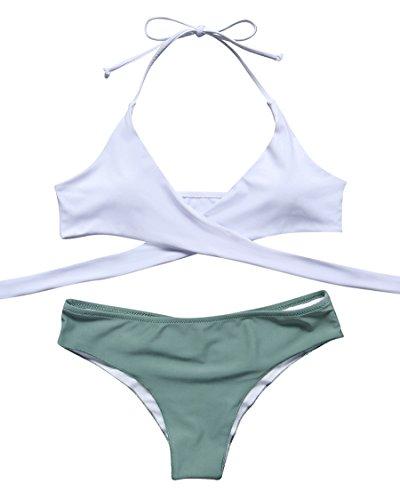 MOSHENGQI Women Front Cross Halter Push up Bikini Floral Bottom 2 Piece Cute Swimsuits (M(US ()