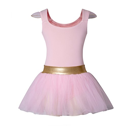 DANSHOW Girls'Tank Skirt Leotards for Ballet Dance with Tutu, Gold Waist and Flying Sleeves(4-6,pink)]()