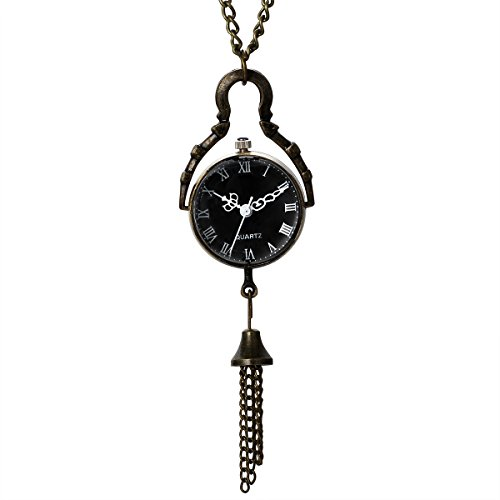 JewelryWe Mothers Day Gift Vintage Retro Black Dial Quartz Ball Glass Pocket Watch Necklace 31.5 Inch Chain Steampunk (with Gift Bag) from JewelryWe