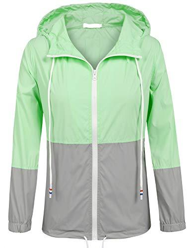 SoTeer Rain Jacket Women Waterproof Hood Lightweight Raincoat Outdoor Windbreaker (Mint/Gray XXL) (Tall Coat Rain)