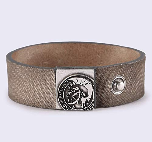 DIESEL A-MYDENIM Leather/Denim Mohawk logo Bracelet, Blue