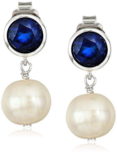 Pearl Sapphire Earrings (Sterling Silver Created Blue Sapphire 6mm and Freshwater Cultured Pearl 8-9mm Bezel Set Birthstone Drop Stud Earrings)