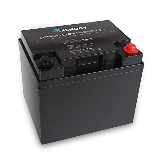 Renogy 50 AH Lithium-Iron Phosphate Battery 12 Volt 50Ah for RV, Solar, Marine, and Off-Grid Applications