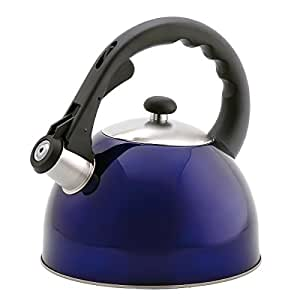 Creative Home Satin Splendor Metallic 2.8 Quart whistling Tea Kettle, Blue