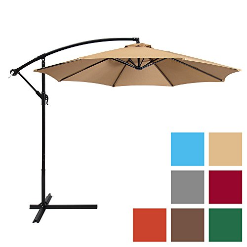 Best Choice Products 10ft Offset Hanging Market Patio Umbrella w/ Easy Tilt Adjustment, Polyester Shade, 8 Ribs for Backyard, Poolside, Lawn and Garden - Beige]()