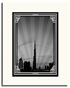 Dubai Skyline Down Town - Black And White With Silver Border No Text F05-m (a2) - Framed